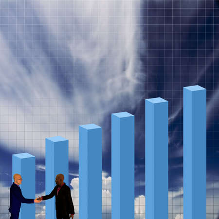 Bar chart with businessman shaking hands photo