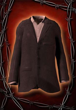 Hi-Res Suit framed in Barbed wire