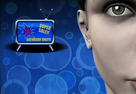 Super Sale on retro TV Banco de Imagens