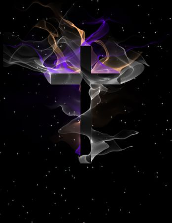 golgotha: Cross with flowing forms Stock Photo