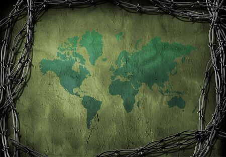 World caged by barbed wire Stock Photo - 2240107