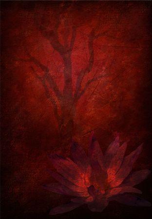 realism: Tree Grunge with lotus