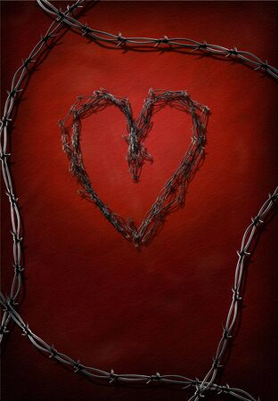 Barbed wire heart and frame photo