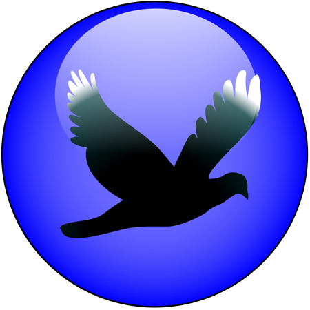 Freedom, flight, bird web button Illustration