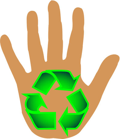 environmental awareness: Lend a hand - Recycle