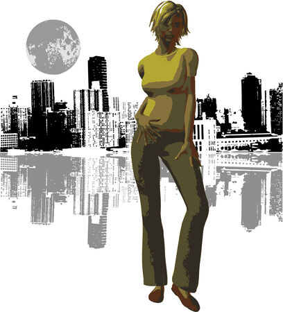 Vector woman with NYC background and moon Vector