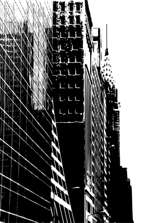 skyscrapers: NYC Street Illustration