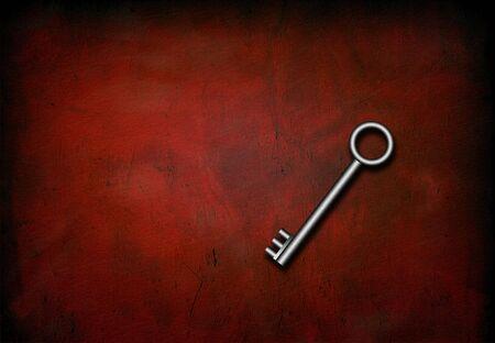 antiqued: Silver Skeleton Key on red grunge surface