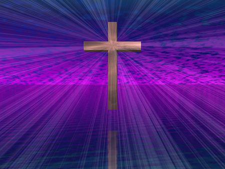 Hi-Res Cross in purple sky with beams photo