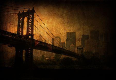 river scape: Deep grunge city and bridge