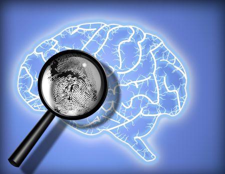 cerebra: Brain Fingerprint - Identity - Psychoanalysis Stock Photo