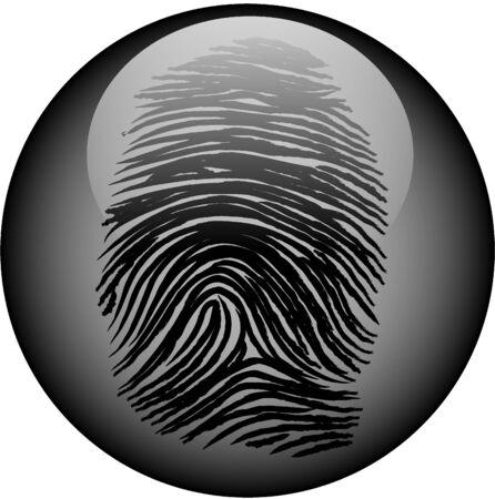 authenticate: Fingerprint encased in glass web button Illustration