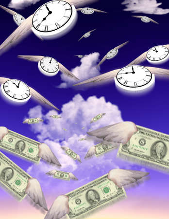 corporate waste: Clocks and Money fly in groups toward an unknown but similar destination