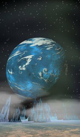 sci: Sci Fi escena planetaria Foto de archivo