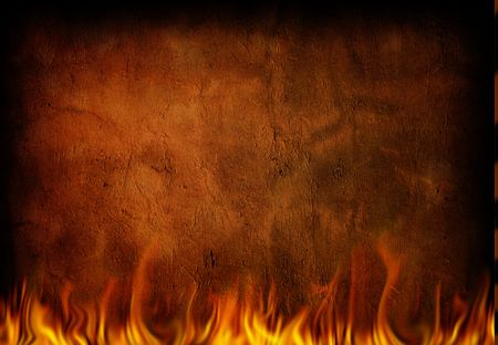warm house: Fire and grunge wall Stock Photo