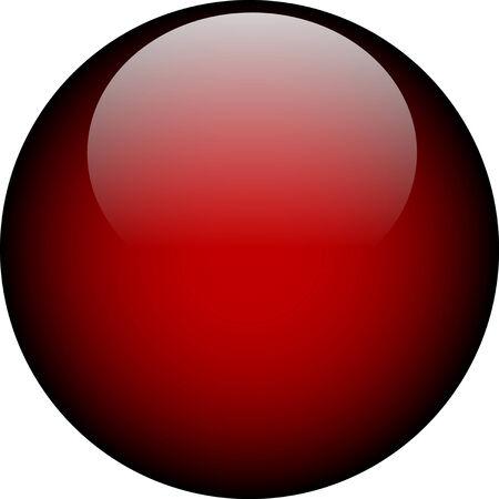 Vector Deep Red Glass Button