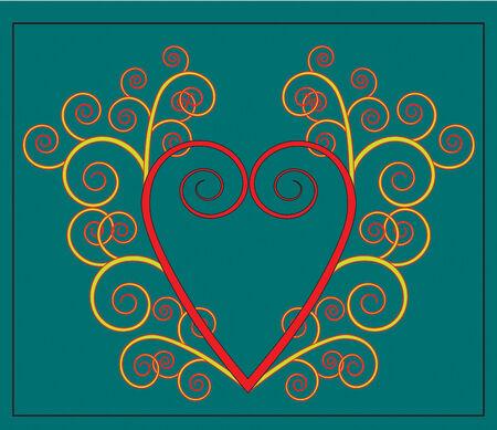 Vector Heart with flourish Vector