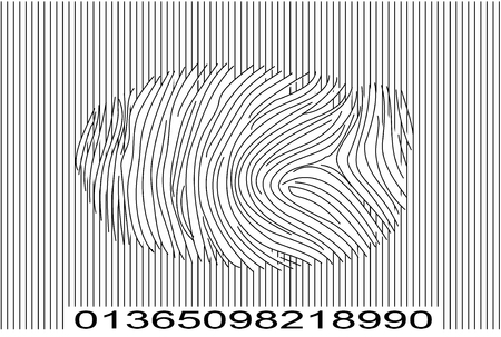 Barcode with Fingerprint Vector Stock Vector - 2454294