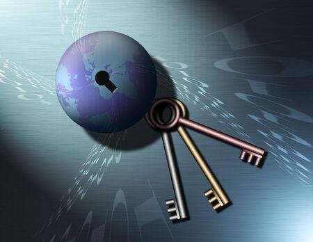 lay: Earth has a key hole, keys lay nearby as binary code swirls into the keyhole