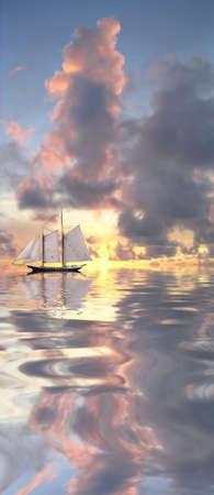 Sail boat and beautiful sunset Stock Photo - 2681712