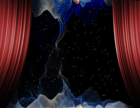 Stage of space with abstract forms