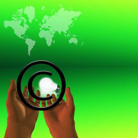 dispensation: Lightbulb framed by copyright symbol Stock Photo