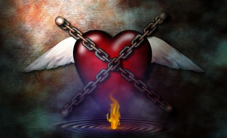 prisoner of love: Chained Heart and flame