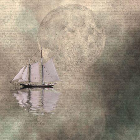 reflected: Moon and Ship Stock Photo