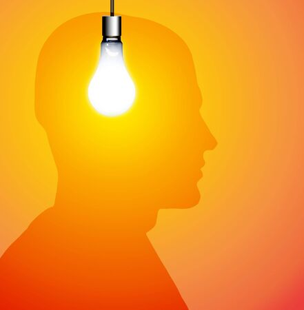 incandescent: Idea Silhouette Stock Photo
