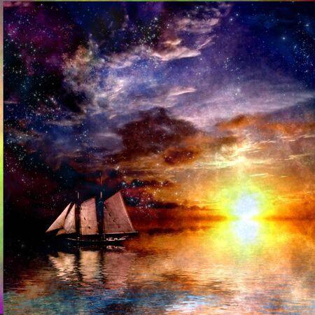 creative: Sailboat Sunset Stock Photo