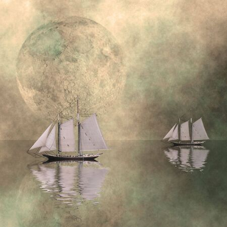 큰 달이 아직도 바다에있는 배들
