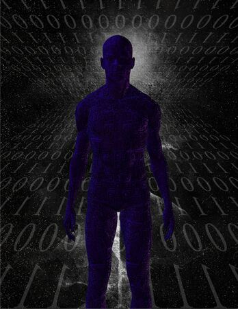 Figure with binary Stock Photo - 3373909