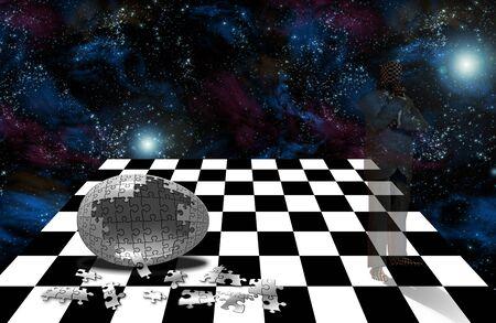 ghostlike: Strange ghostlike figure, chess board, puzzle piece egg