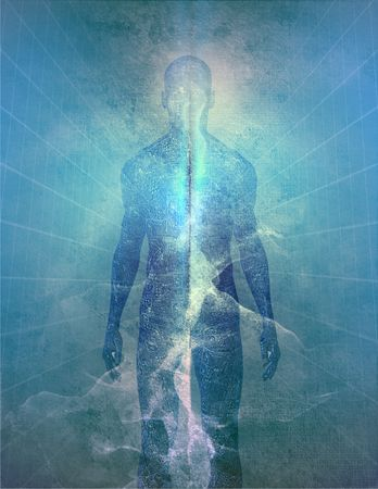 meditation man: Abstract man of light Stock Photo