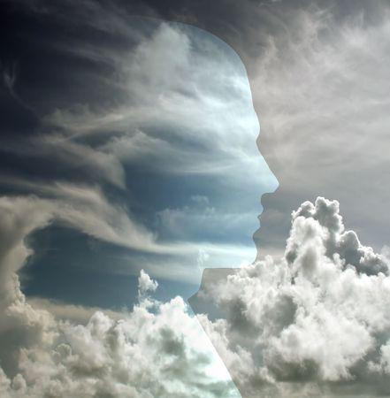 perceptive: Testa rivelato in cielo  Archivio Fotografico