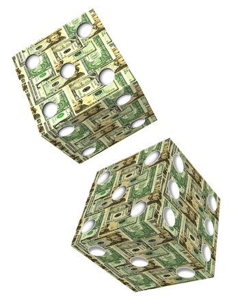 Dice made of US Bank Notes photo