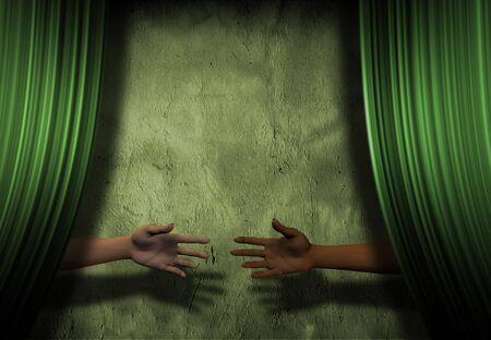 Hands reach behind curtain Stock Photo - 3483539