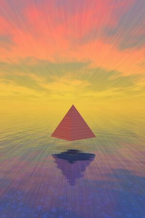tomb: Pyramid floats above water Stock Photo