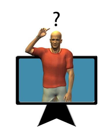 Man in flat panel points to question mark Stock Photo - 3484652