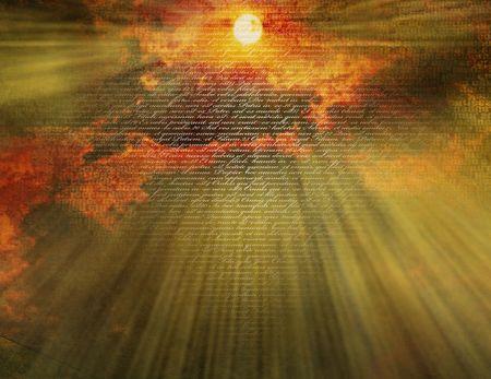simbolos religiosos: Nuevo testimonio sobre el texto del amanecer Foto de archivo