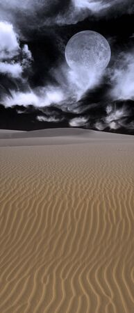Desert Moon and sands at night Stock Photo - 3684464