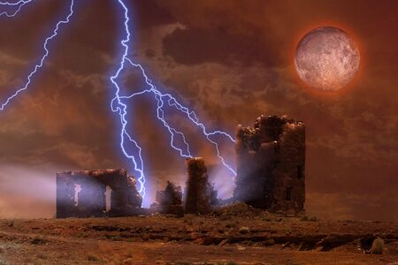 Lightning strikes spooky ruins photo
