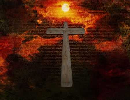 Cross floats in space with new testament latin text photo