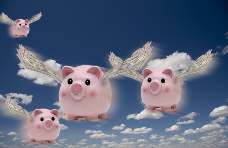 flying pig: Pigs in flight Stock Photo