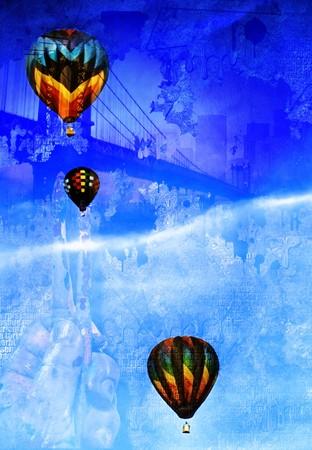 Hot air balloons abstract