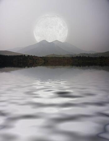 magic hour: Moonlit landscape