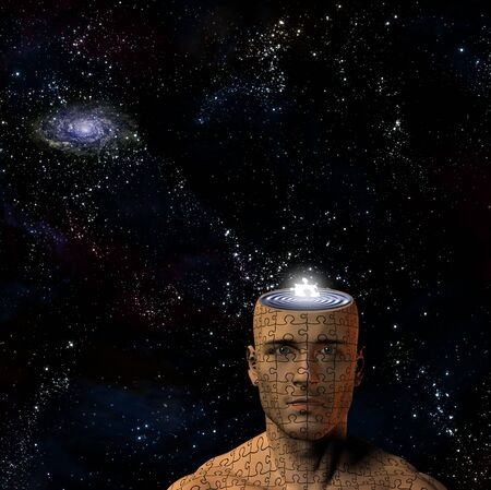 Space and puzzle man photo