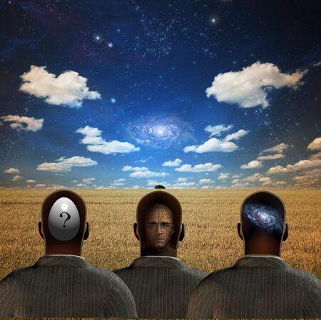 subconscious: Three figures in field