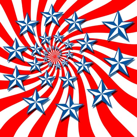 Swirling stars of blue and white with red and white stripes photo
