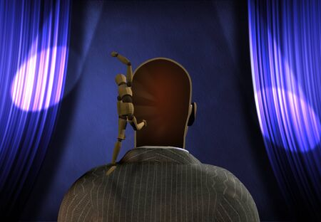 Leaping figure from mans head  Stock Photo